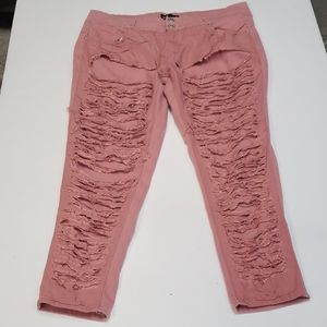 Thrill Pink Faux Ripped Stretch Jean 18